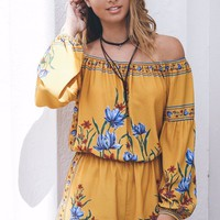 Tropical Village Mustard Off The Shoulder Romper
