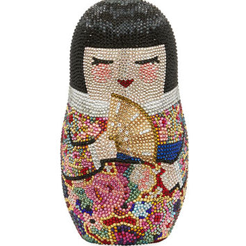 Judith Leiber Couture Niko Russian Doll Crystal Minaudiere
