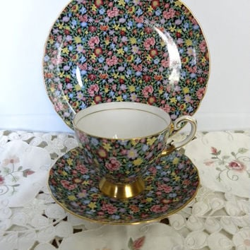 Tuscan MILLE FLEURS Chintz Footed Tea Cup & Saucer Trio Set with  Dessert Plate, Made in England Victorian English Bone China Teacup