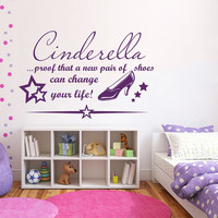 Wall Decals Quote Cinderella Proof That A New Pair Of Shoes Vinyl Decal Sticker Bedroom Interior Design Mural Girl Nursery Decor MR354