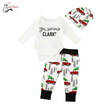Fshion cute Newborn Infant Baby Boy Girl Clothes Letter Romper Tops+Pants 3PCS Outfits Set you serious clark high quality Soft