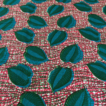Made in Mali--African Wax Print Fabric--Ankara Fabric--Hot Pink with Turquoise Leaves--African Wax Print by the HALF YARD