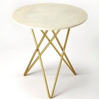 Quantum Modern Round Bunching Table Cool White Marble