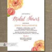 Watercolor Blooms Bridal Shower Invitation Pink Orange Peach Shabby Chic Ranunculas Flowers Printable Digital or Printed - Stevi Style
