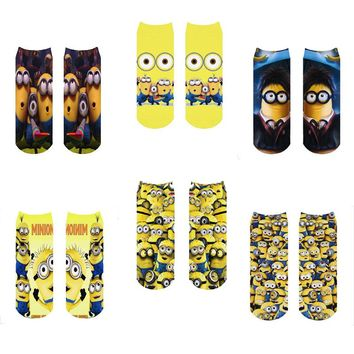 12pieces=6pairs woman cartoon minions pattern tube funny novelty socks digital 3d print harajuku low cut ankle despicable cute
