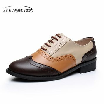 women full grain leather shoes woman us9.5 retro shoes round toe handmade flats brown beige yellow oxford shoes for women