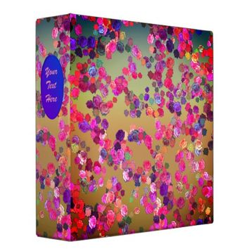 Pink and Violet Roses in a Random Pattern 3 Ring Binder