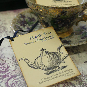 Wedding Favor Tags, Bridal Shower Favor Tags, Thank You Tags, Vintage, Shabby Chic Style, Teapot, Scripture, Garden Party