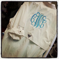 Monogram Columbia Fishing Shirt PFG Font Shown INTERLOCKING
