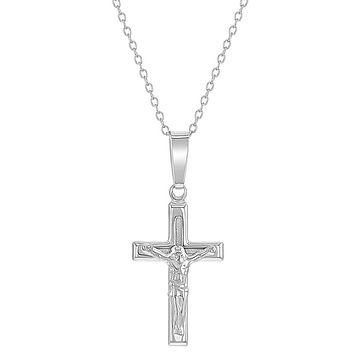 925 Sterling Silver Classic Cross Crucifix Jesus Christ Necklace Pendant 19""