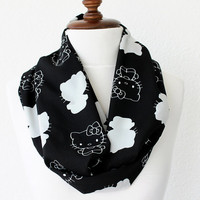 NEW Hello Kity Print Infinity Scarf - Loop Scarf - Circle Scarf - Cowl Scarf - Soft and Lightweight