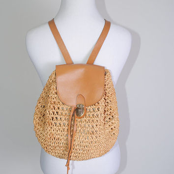 Vintage 1990s tan VEGAN leather woven MACRAME Jute straw Mini Festival Backback Boho Rucksack