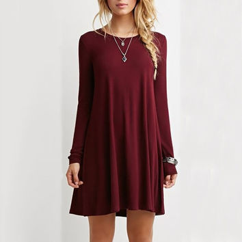5 colors autumn winter cotton long sleeve casual solid dress women loose blue red brief plus size pleated party clubwear dresses