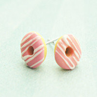 strawberry donuts w/ white chocolate drizzle earrings