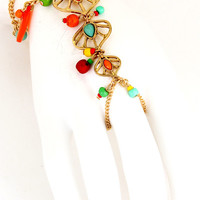 LEAVES & BEADS HAND HARNESS BRACELET (MORE COLORS) | Paper Kranes