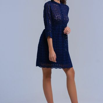Navy midi dress with crochet