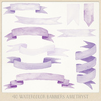 Watercolor clipart ribbons and banners (40 pc) purple lilac amethyst violet. handpainted for logo design, blogs, cards, printables, wall art