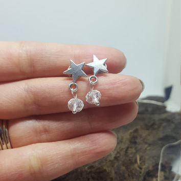 Constellation Star Earrings, crystal earrings ,  Tiny Stud Earrings , dangle earrings , dainty earrings ,  silver studs , delicate earrings