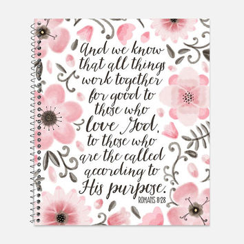 Romans 8:28 Notebook, Waterproof Cover, Bible Journal, School Supplies, Office Supplies, Flower Journal, College Ruled Notebook