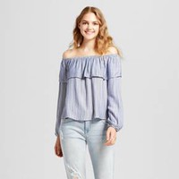 Women's Off the Shoulder Ruffle Top - Mossimo Supply Co™ Blue