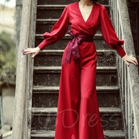 Red Bishop Sleeve Palazzo Vintage Jumpsuit - m.tbdress.com
