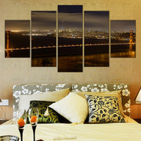 No Frame Golden Gate Bridge on Canvas City Landscape Wall Art Cuadros Home Decoration Canvas Pictures for Living Room 5 Pieces