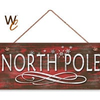 "NORTH POLE Sign, Christmas Sign, 6""x14"" Sign, Rustic Holiday Decor, Christmas Gift, Holiday Wall Hanging, Holiday Decor, Made To Order"