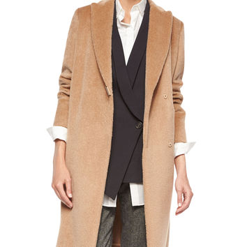 Alpaca/Wool Monili-Snap Long Coat, Size: 46, TOFFEE - Brunello Cucinelli
