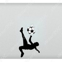Soccer Bicycle Kick Apple Sports Bike Kicking the Mac Sticker Football MacBook Decal