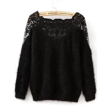 Lace Insert Boat Neckline Mohair Sweater Black