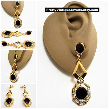 Avon Black Crystal Pierced Stud Gold Tone Vintage Long Oval Disc Stone Embedded Slotted Dangles