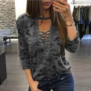 Camouflage Sexy Deep V Women Tops.