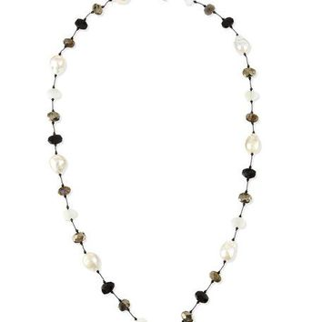 Margo Morrison Baroque Pearl & Pyrite Station Necklace, 34