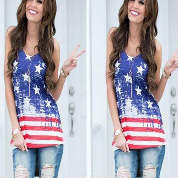 New summer sexy Women flag pattern vest Blue pentagram printing T-shirt -0626