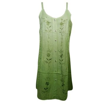Mogul Womens Tank Dress Green Floral Embroidered Button Front Summer Sundress - Walmart.com