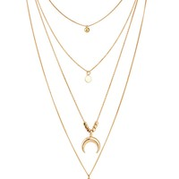 Moon & Round Pendant Layered Chain Necklace