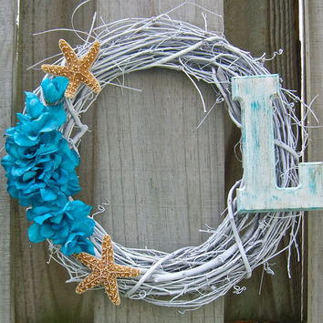 Wreath-SUMMER-Monogrammed Personalized Beach Starfish Wreath, Summer Wreath, Starfish Home Decor, Coastal Home Decor, Hostess Gift, Weddings