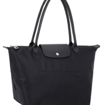 Longchamp Le Pliage NEO Large Shoulder Tote Black Authentic NEW