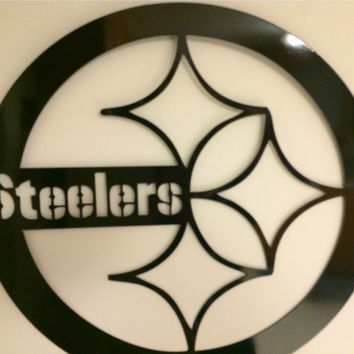 Steelers metal art black out edition, Pittsburgh Steelers, NFL, Football, 24 inch, cnc plasma cut