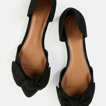 Pointed Toe Bow Flats BLACK | MakeMeChic.COM