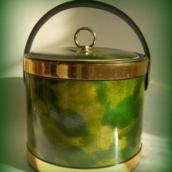 Vintage Mid Century Barware Ice Bucket Avocado Green and Copper Vinyl