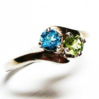 "Topaz and peridot ring, topaz, peridot, 2 stone ring, mothers ring, s 6 ""Lady Love"""