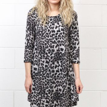 Wild Thing Brushed Knit Leopard Tunic Dress {Grey}