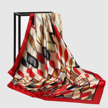 STYLEDOME Colors Plaid Print Large Square Silk Scarves Wraps Shawls