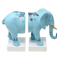 Modernly Cultured Set Of 2 Resin Elephant Bookends, Blue And White