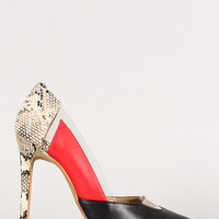 Snake Color Block Lucite Pointy Toe Pump