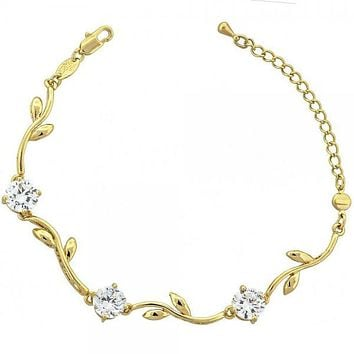 Gold Layered 5.029.001 Fancy Bracelet, Flower and Leaf Design, with White Cubic Zirconia, Polished Finish, Gold Tone