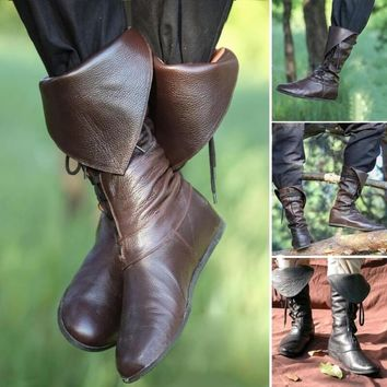 Lace Up Flat Round Toe Knee High Pirates Boots