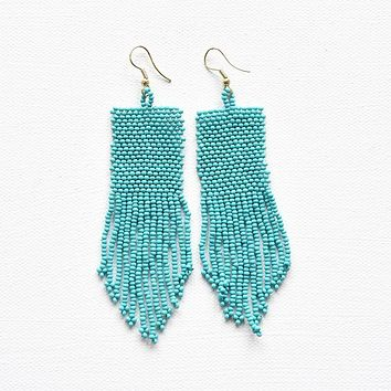 turquoise seed bead solid earring