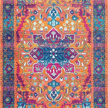 20035 Orange Colorful Medallion Persian Area Rugs